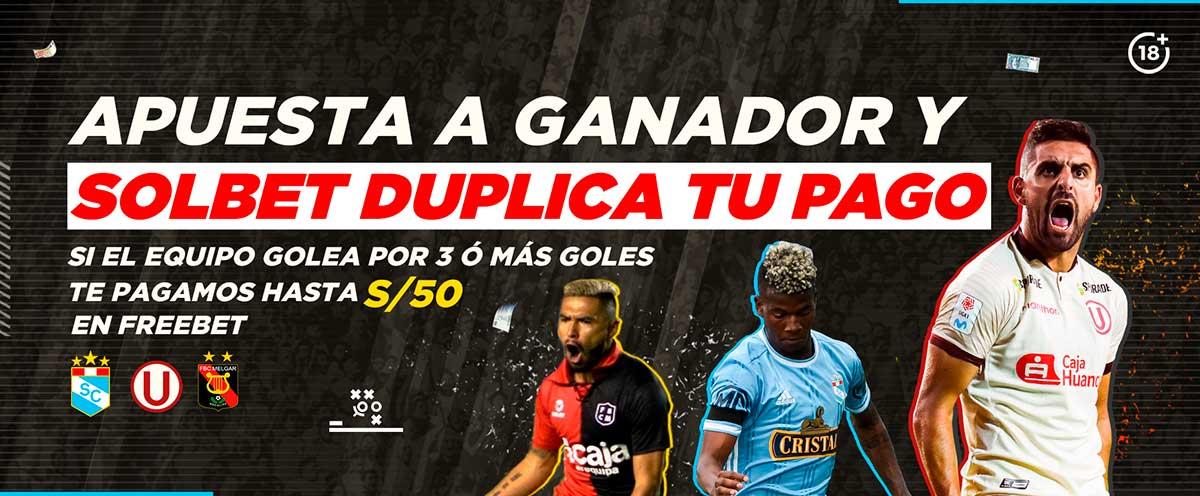 Banner de Solbet Perú con tres jugadores de fútbol
